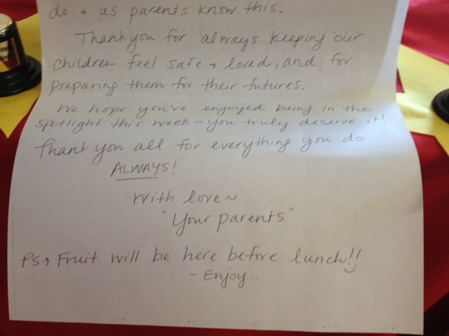 Sweetest Note to teachers