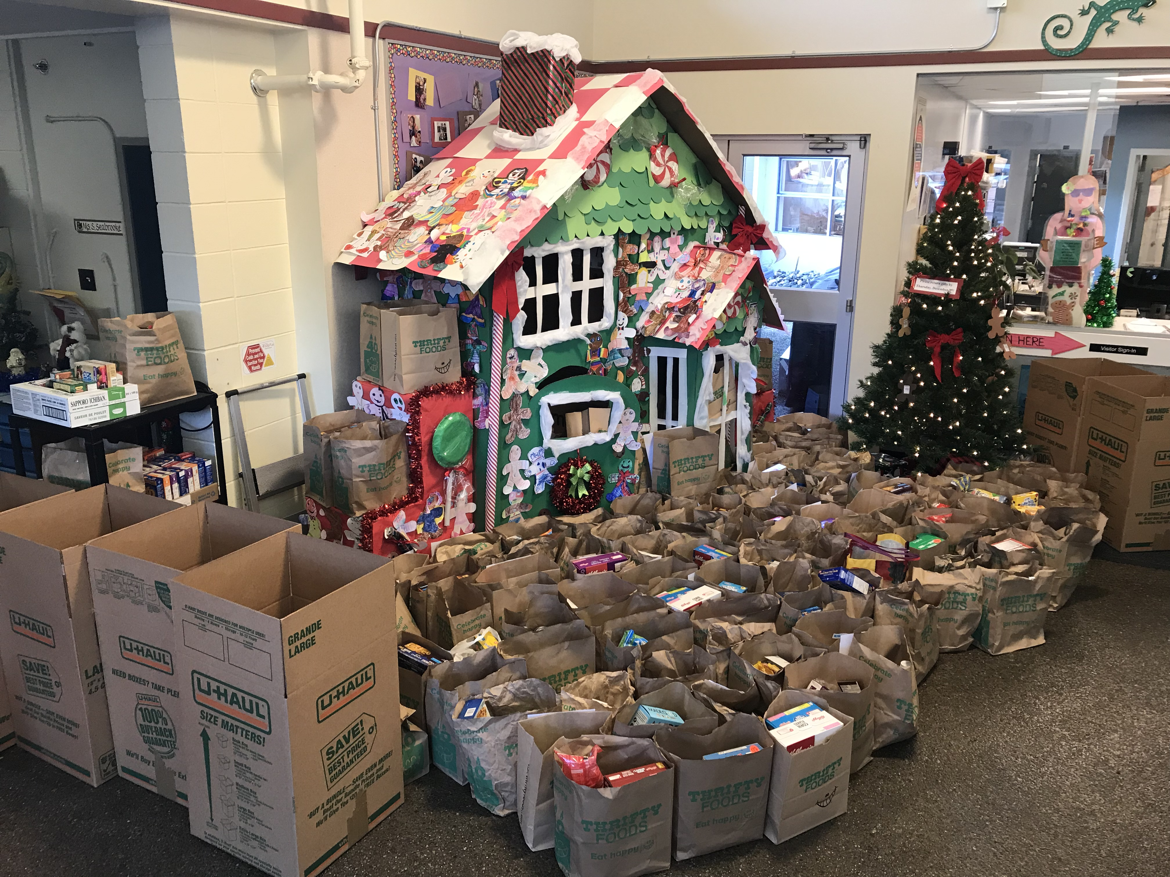 Gingerbread House Full of Food Donations